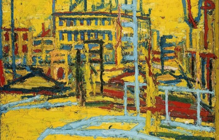 Frank Auerbach, Mornington Crescent with Statue of Sickert's Father-in-Law III, Summer Morning, 1966