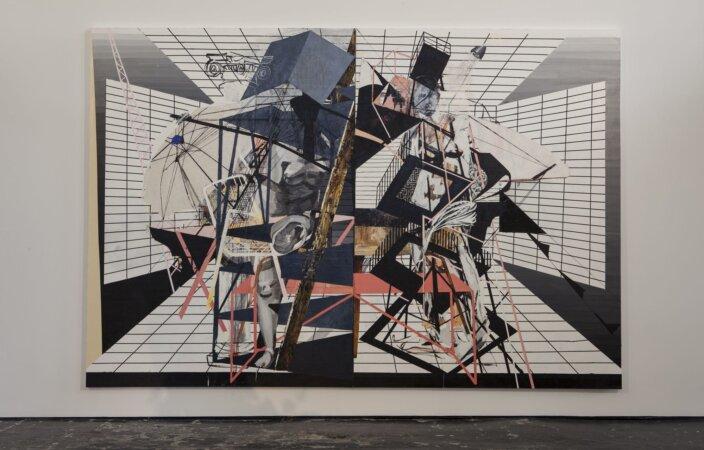 Francesca Di Mattio, Diptych, 2008, installation view, Francesca Dimattio: Vertical Arrangements, 2013 at Zabludowicz Collection, London. Photo: Tim Bowditch