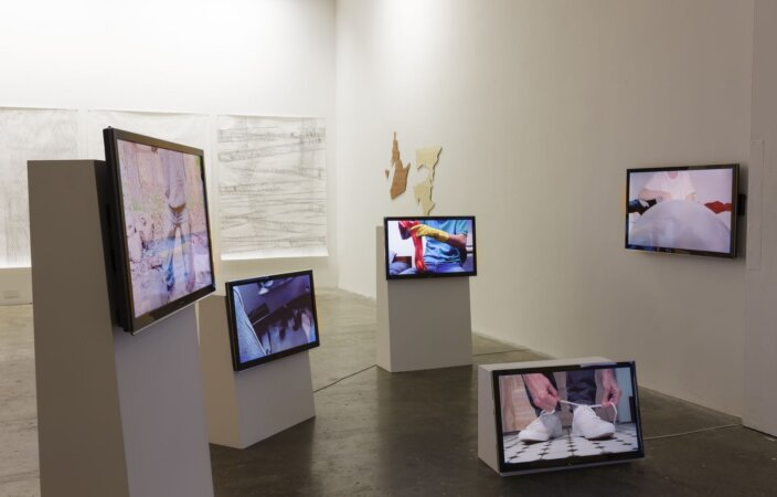 Seth Price, Untitled, 2007 installation view, Detouched, 2013 at Project Arts Centre, Dublin