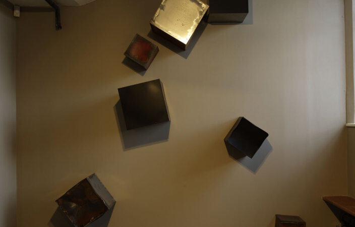 Katja Strunz, Fall Into Space, 2007, installation view, Material Presence, 2008 at Zabludowicz Collection, London. Photo: Stephen White