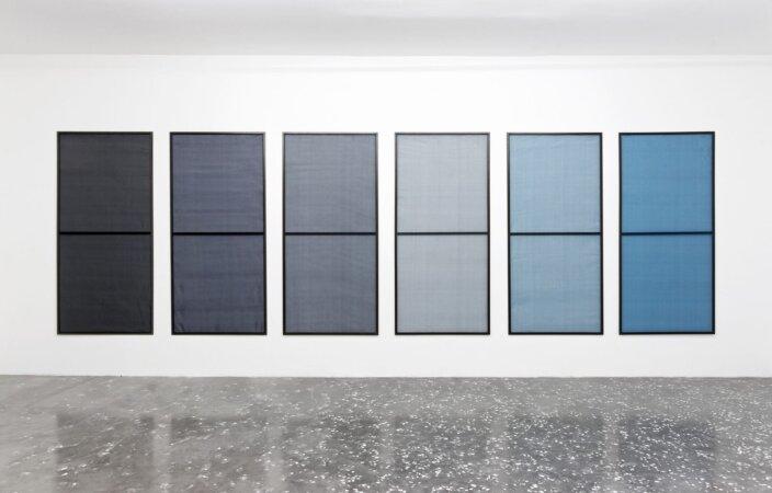 Artie Vierkant, Air filter and method of constructing same 6, Six Screen Ascending Blue (Exploit), 2013. Photo: Aurelien Mole