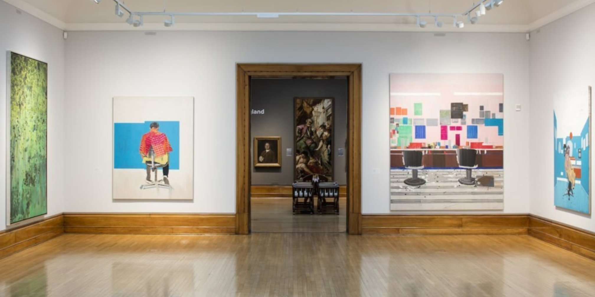 Installation view of Hurvin Anderson's work at the Turner Prize 2017 exhibition, Ferens Art Gallery Hull. Photo: David Levene.