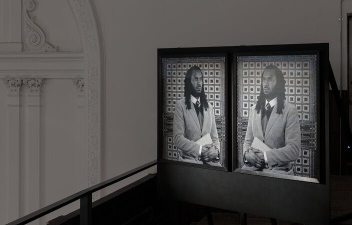 """Rashid Johnson, Self Portrait as The Professor of Astronomy, Miscegenation, and Critical Theory at """"The New Negro Escapist Social and Athletic Club"""" Center for Graduate Studies, 2009. Installation view One & Other, Zabludowicz Collection, 2017. Photo: Tim Bowditch"""