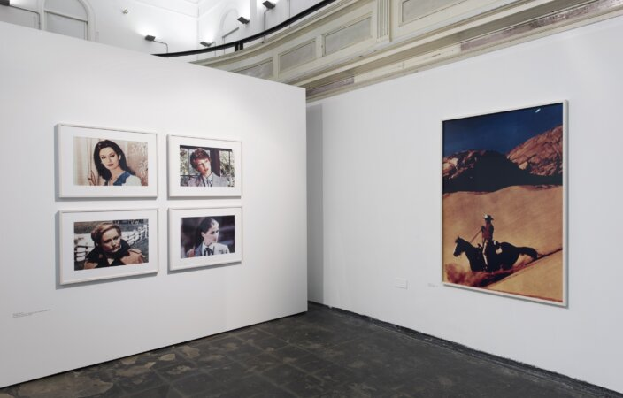 Richard Prince, Untitled (four women looking in the same direction), 1977 and  Untitled (Cowboy), 1994. Installation view You Are Looking at Something That Never Occurred, 2017. Photo: Thierry Bal