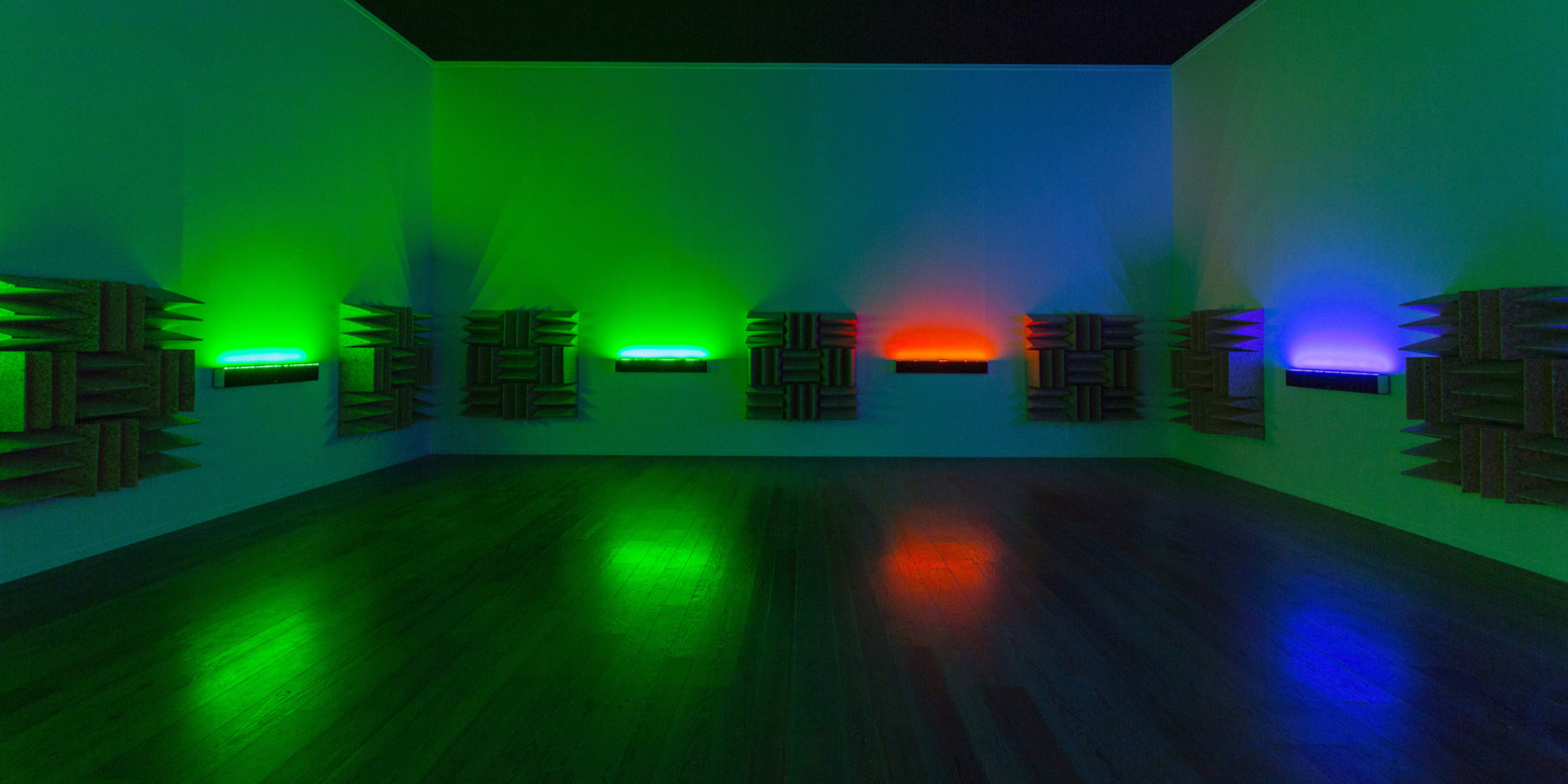 Haroon Mirza, A Chamber for Horwitz; Sonakinatography Transcriptions in Surround Sound, 2015. © 2015 Museum Tinguely, Basel. Photo: Bettina Matthiessen