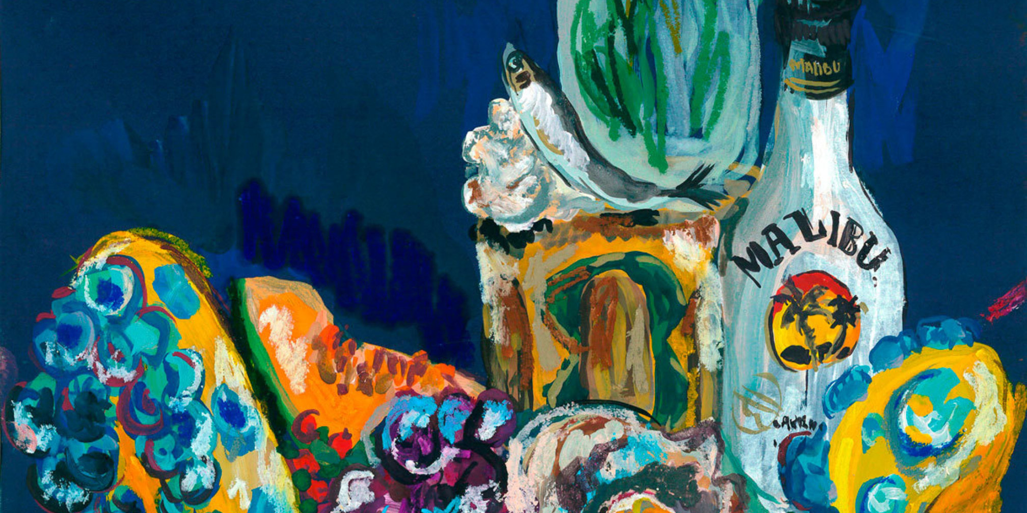 Lindsey Mendick, Still Life at Plaza, 2018 (detail). Gouache and oil pastels on paper.