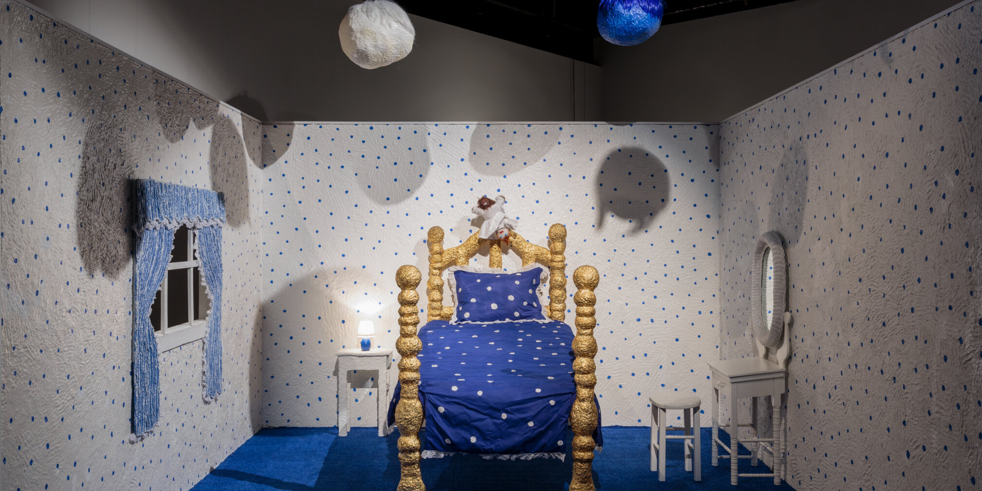 Trulee Hall, Polkadot Bedroom, Nightmare Set (Girl/ Monster), 2018, exhibition view at Zabludowicz Collection, London, 2020. Photo: Tim Bowditch