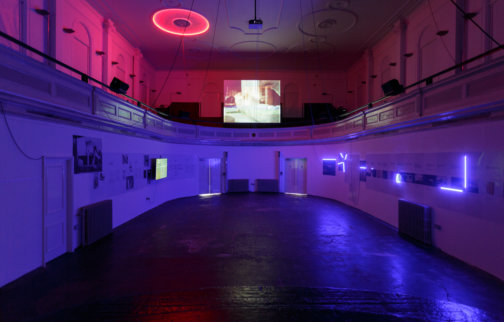 Haroon Mirza/hrm199, The System, 2014, Installation View. Photo: Tim Bowditch
