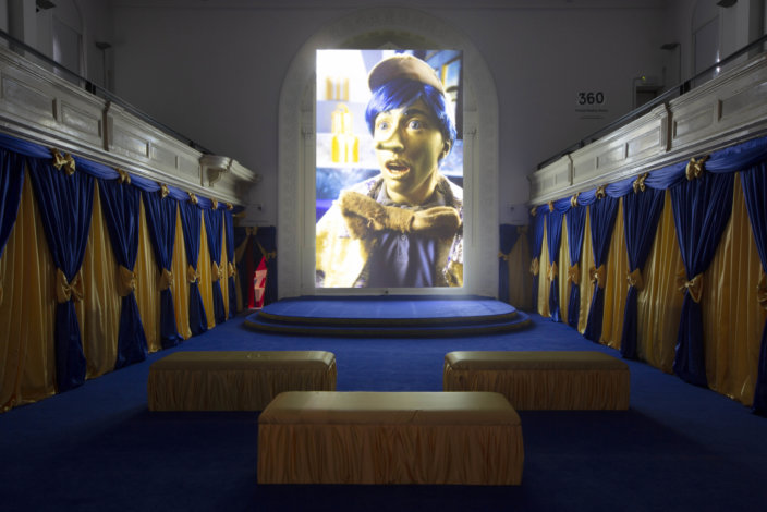 Installation view: Rachel Maclean, Zabludowicz Collection, London. Spite Your Face, 2017. Digital video installation. Commissioned by Scotland + Venice 2017. Courtesy the artist and Zabludowicz Collection. Photo: David Bebber