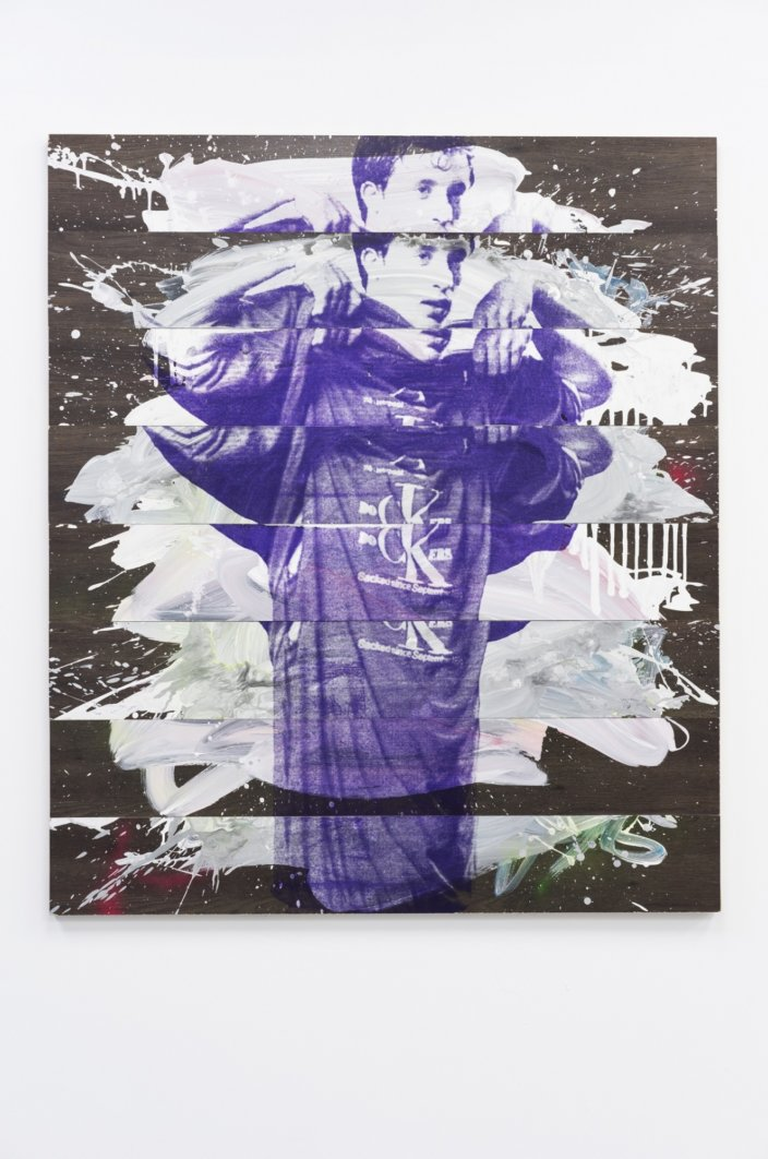 Space Docking, 2016, Acrylic Spray Paint And Silkscreen On Laminate Floorboards