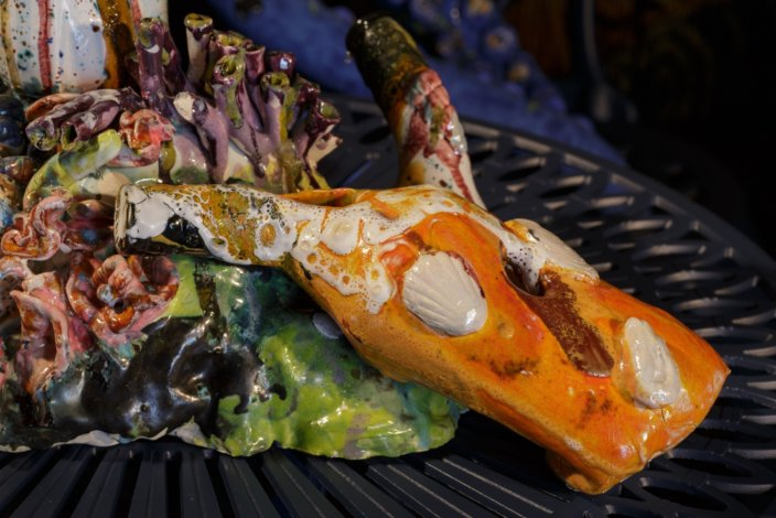 Lindsey Mendick, Touch Me In The Morning, And Last Thing At Night (detail), 2018. Ceramic. Photo: Tim Bowditch