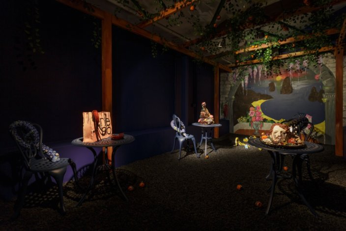 Lindsey Mendick, installation view of Perfectly Ripe, Zabludowicz Collection London, 2018. Courtesy the artist and Zabludowicz Collection. Photo: Tim Bowditch