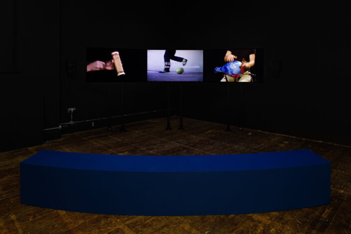 Guan Xiao, Action, 2014, installation view No Thing is Waiting at Zabludowicz Collection, London, 2021. Photo Tim Bowditch