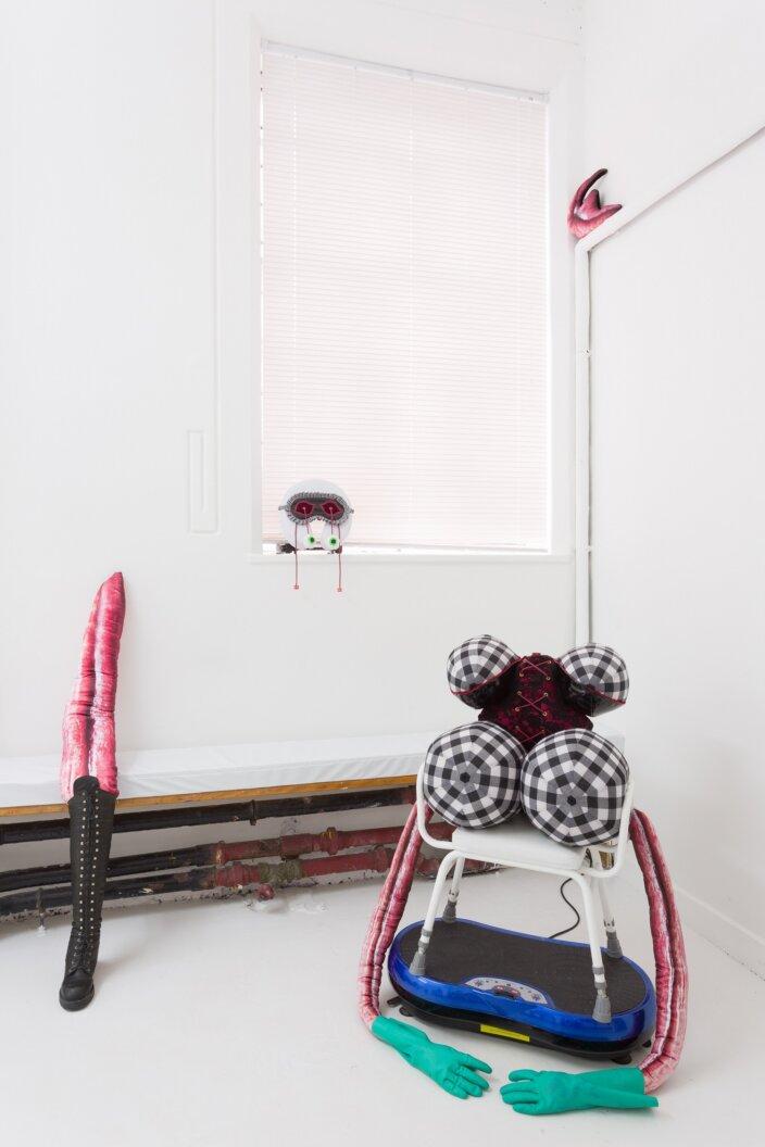 Rosie Gibbens, Gym Master, 2020 installation view Soft Girls at Zabludowicz Collection, London, 2021. Photo: Tim Bowditch