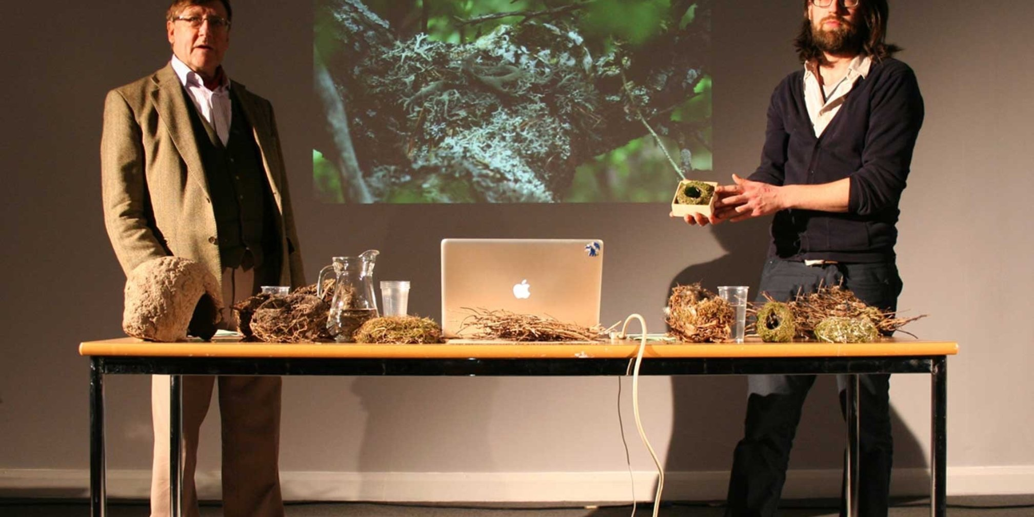 Andy Holden and Peter Holden, PERFORMA13, Lecture on Nesting, Collective Gallery Show 2012 Central Library Edinburgh,