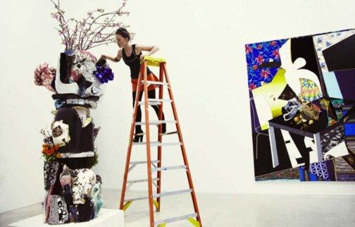 Francesca DiMattio installing Totem.