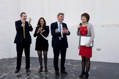 Zabludowicz Collection Future Map Prize winner Wei Wang with Jonty Colchester, Anita Zabludowicz and Nigel Carrington. Photo: Damian Griffiths