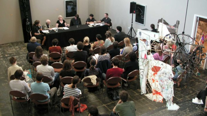 Panel Discussion critics, curators, artists, 2008 at Zabludowicz Collection, London. Photo: Ginnie Morysse
