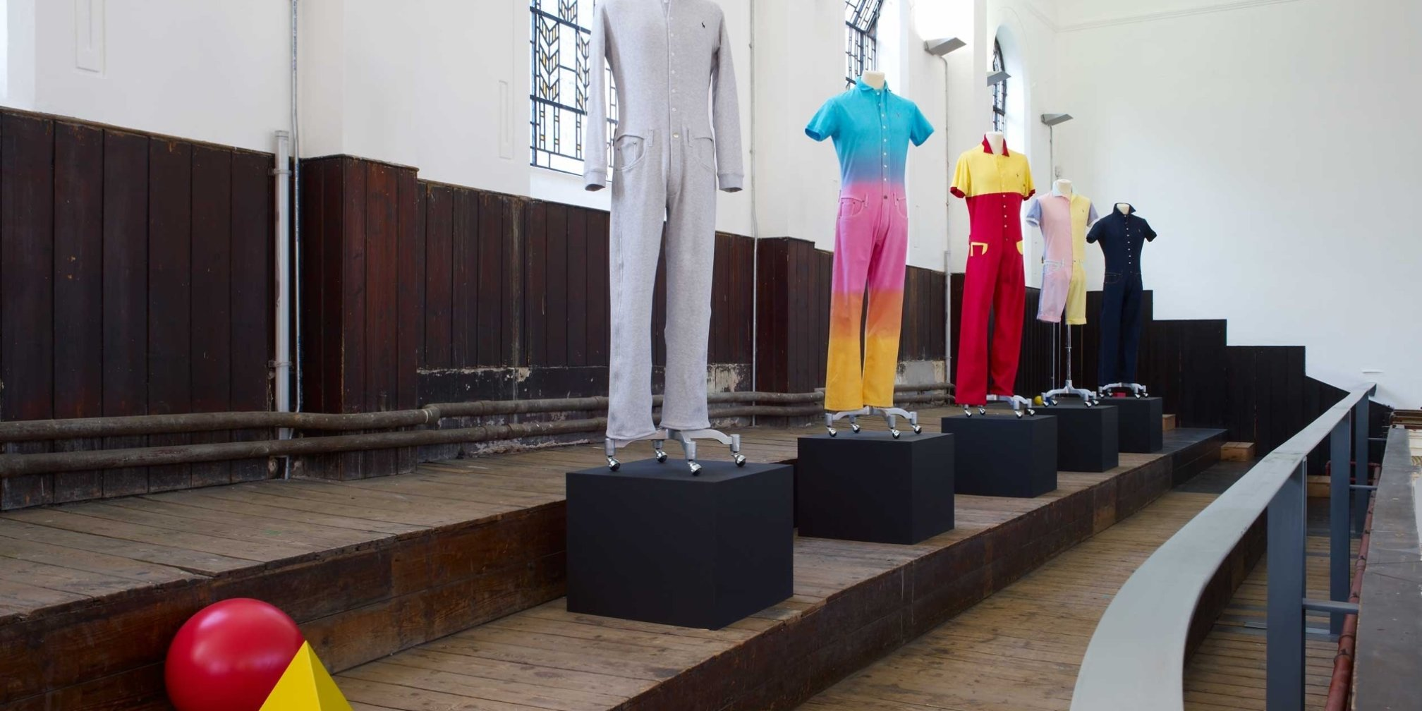 Matthew Darbyshire, Standardised Production Clothing Versions 1-10, 2009, installation view, The Shape We're In, 2011 at Zabludowicz Collection London. Photo: Stephen White