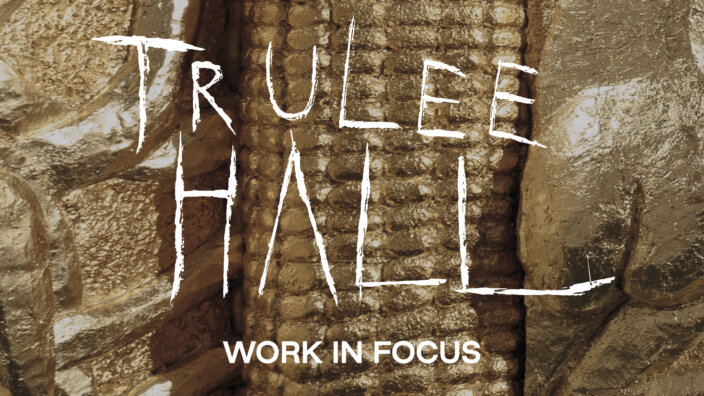 Trulee Hall: Work in Focus (Golden Corn Entryway with Boob Fountain)